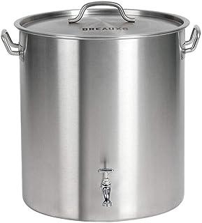 BREAUXS 80 Quart Stainless Steel Stock Pot with Raised Deep Steamer Strainer, Boil Basket
