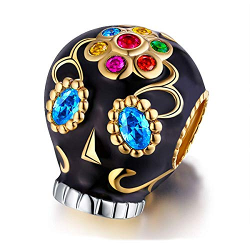 FOREVER QUEEN Women's Skull Charm for Pandora Bracelet 925 Sterling Silver Colorful Enamel Skull Charm Bead for Halloween Gift With Jewelry Box…