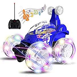 UTTORA Remote Control Car, Invincible Tornado Twister Remote Control Truck,360 Degree Spinning and Flips with Color Flash & Music for Kids (Blue) 7 REMOTE CONTROL STUNT CAR:Remote control racing cars for kids with 360 degree spinning front axle and big wheels for flipping fantastic fun, on road and off road. Cool toys and gadgets for 5 year old boys and girls and up NEWEST UPGRADE INCLUDE: 1) SHORTER CHARGING TIME: Our supplied USB charger requires only 100-120 minutes of charge time . 2) LONGER PLAY TIME: Our car's battery provides up to 30 minutes of play time, while others provide only about 7-10 minutes of play time. MUSIC ON/OFF SWITCH FOR QUIETER PLAY: Our RC stunt car comes with a peaceful music on/off switch, while others are only deafening!
