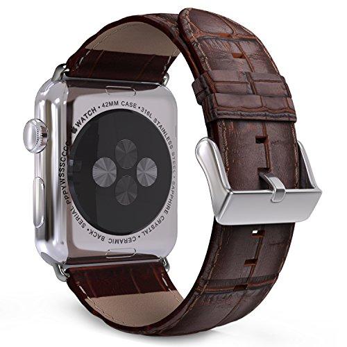 MoKo Cinturino per Apple Watch 42mm 44mm Series 5/4/3/2/1, Premium Morbido Braccialetto di Ricambio in Vera Pelle per Apple Watch 42mm 44mm Series 5/4/3/2/1, Marrone