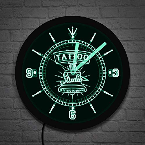 Tattoo Tattoo Studio Logo eléctrico led Letrero de neón Reloj de Pared salón Tienda iluminación Comercial Arte de Pared Colorido Artista del Tatuaje Regalos