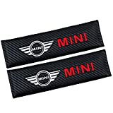 GDDCC 2 Pcs Car Seat Belts Covers Padding Carbon Fiber Leather Belt Shoulder Sleeve (fit mi-n-i)