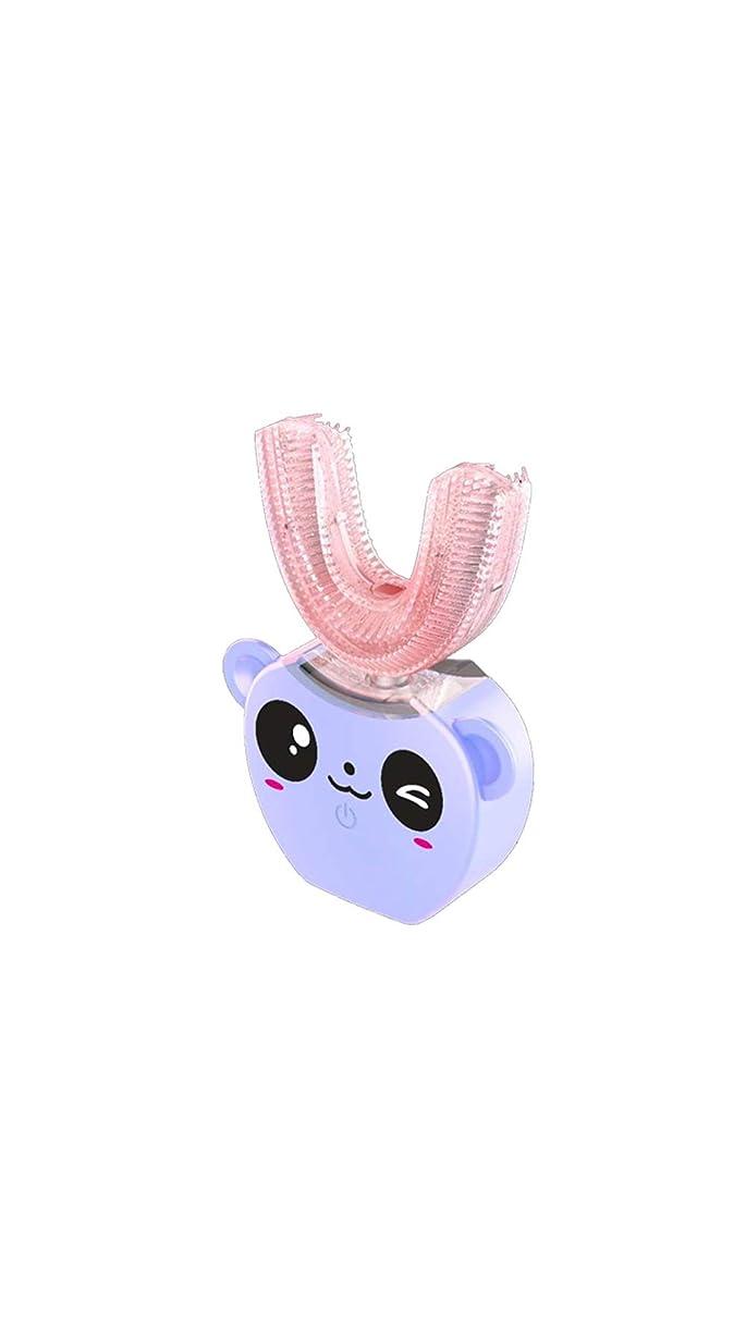トライアスロン大使説得力のある子供の口と歯ブラシシリコーン電気超音波歯ブラシ360°インテリジェント自動防水歯ブラシ,Purple