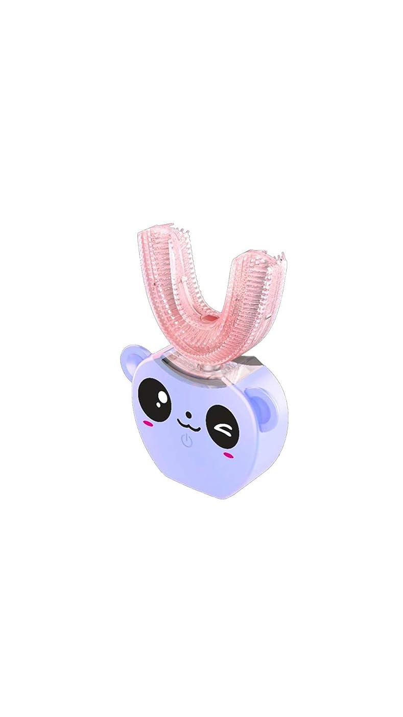 泥だらけ長々とびっくりした子供の口と歯ブラシシリコーン電気超音波歯ブラシ360°インテリジェント自動防水歯ブラシ,Purple