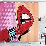 ABAKUHAUS Lippen Duschvorhang, Halftone Comic Pop Art Girl, mit 12 Ringe Set Wasserdicht Stielvoll Modern Farbfest & Schimmel Resistent, 175x200 cm, Mehrfarbig