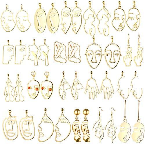 20 Paar Menschliches Gesicht Abstraktes Design Ohrringe Gesicht Hand Ohrringe Hohle Hand Geformte Geometrische Ohrringe