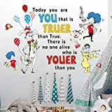 Today You are You That is Truer Than True There is No One Alive Who is Youer Than You Dr Seuss Wall Sticker, DILIBRA Quoters Saying Inspirational Vinyl Art Kids Wall Decal for Nursery Home Decor