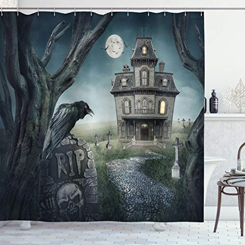 Halloween Haunted House Fabric Shower Curtain