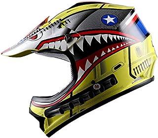 WOW Youth Kids Motocross BMX MX ATV Dirt Bike Helmet Shark Yellow