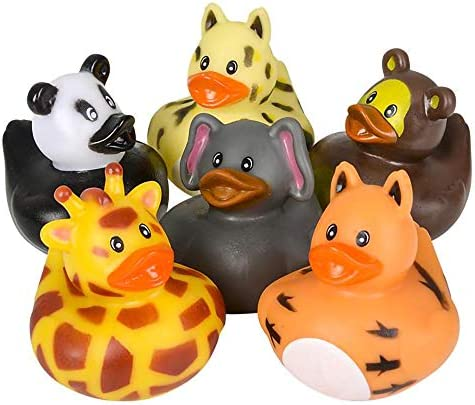 The Dreidel Company Animal Safari Zoo Rubber Duck Toy Duckies for Kids Bath Birthday Projects product image