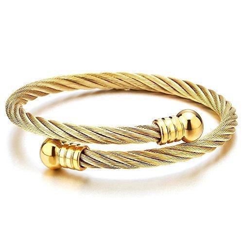 COOLSTEELANDBEYOND Elástica Ajustable Brazalete Unisexo, Color Oro Pulsera de Hombre Mujer, Abierto Cuff Cable de Acero Inoxidable