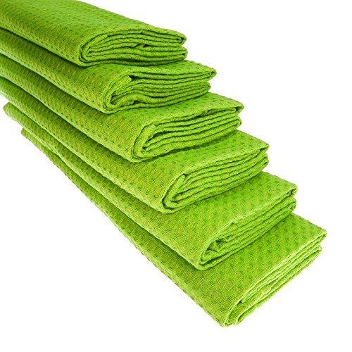 6 intensiv-grüne Geschirrtücher aus 100% Baumwolle/Waffel-Piqué/Apfelgrün / Küchentuch/Putztuch / Handtuch/Geschirrtuch / sattes grün