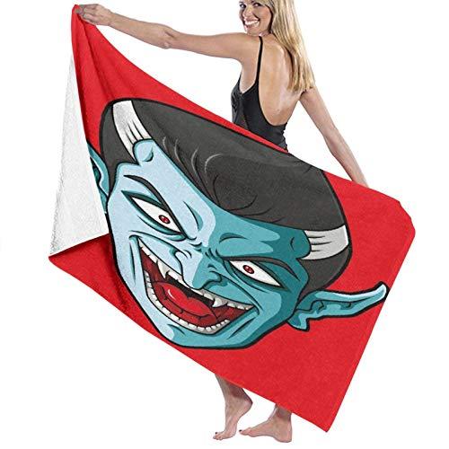 JISMUCI Toallas de Playa Grandes de Antiarena de Microfibra Dibujos Animados de Cabeza de Vampiro riendo Toallas Baño Secado Rapido Piscina, Manta Playa,Toalla Yoga Deporte Gimnasio