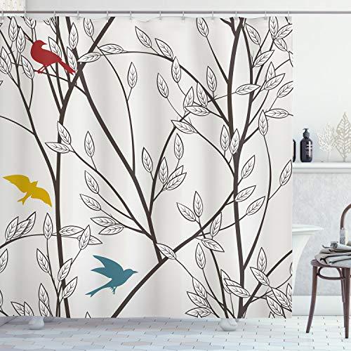 ABAKUHAUS Natur Duschvorhang, Vögel Wildlife Cartoon, mit 12 Ringe Set Wasserdicht Stielvoll Modern Farbfest & Schimmel Resistent, 175x240 cm, Senf Kastanienbraun Grau & Blau