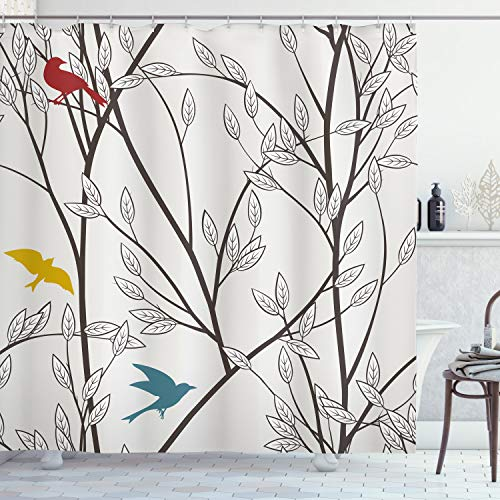 ABAKUHAUS Natur Duschvorhang, Vögel Wildlife Cartoon, mit 12 Ringe Set Wasserdicht Stielvoll Modern Farbfest & Schimmel Resistent, 175x220 cm, Senf Kastanienbraun Grau & Blau