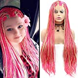 Mix Color Braided Wig Synthetic Lace Front Wigs Rosered Yellow High Density Micro Braided Braids Medium Cap Lace Wig Fully Hand Tied Synthetic Braids for Black Women