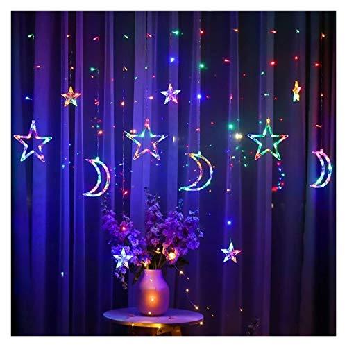 YCRCTC Moon Star LED Rideau Lumières de Noël Fée Guirlandes extérieur LED Twinkle Cordes Lumières de Noël Décoration Festival (Color : Multicolor)