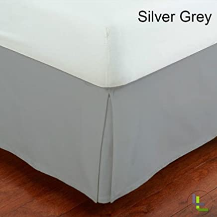 100% Egyptian Cotton 400 TC 10 Inch Fall Bed Skirt Solid Pattern All Sizes & Colors (KING ,  Silver Grey )