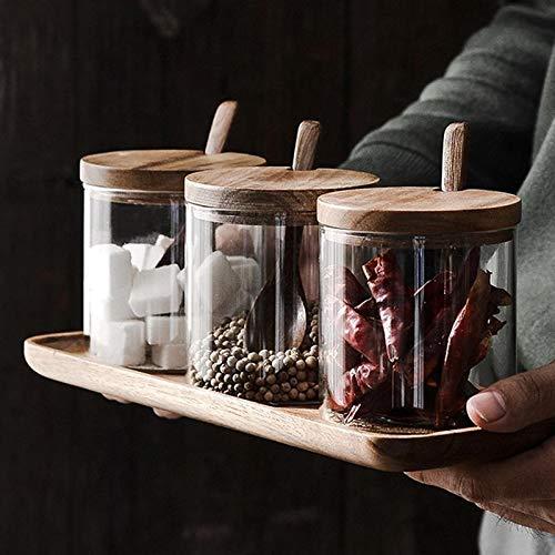 PPuujia Cocina condimento Jarrar Vidrio Especias contenedor Sal de Sal de Sal de condimento con Tapa y Cuchara Tarro de Almacenamiento Tarro de Vidrio
