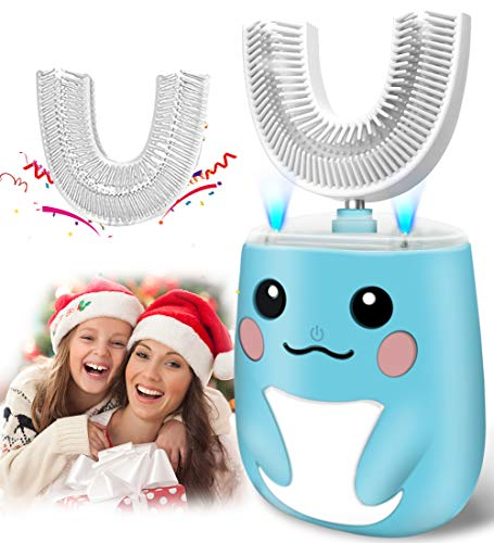 Kids Toothbrush Electric, U Shaped Ultrasonic Autobrush Toothbrush with 2 Brush Heads, Six Cleaning Modes, Cartoon Modeling Design for Kids, Special for Xmas Birthday Gift (2-7 Years Old) (Blue)