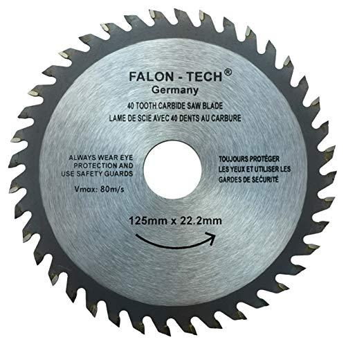 Falon-Tech 125 mm de diámetro 40 dientes Hoja de sierra circular para madera