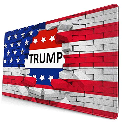 American USA Trump Flag Gaming Mouse Pad Desk Mouse Mat Large Size 15.8x29.5 x0.12inches Computer Keyboard Mousepad for Gaming and Office Home