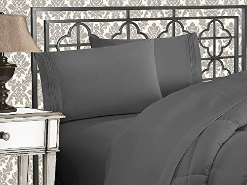 Elegant Comfort 1500 Thread Count Wrinkle & Fade Resistant Egyptian Quality Ultra Soft Luxurious 4-Piece Bed Sheet Set with Deep Pockets, Queen Gray