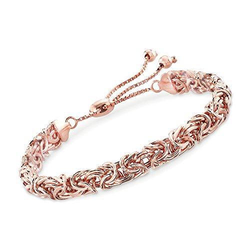 Ross-Simons 18kt Rose Gold Over Sterling Byzantine Bolo Bracelet For Women Adjustable Size