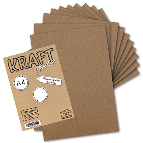 25x Vintage Kraftpapier - DIN A4 21 x 29,7 cm - 210 x 297 mm - 250 g/m² natur-braunes Recycling-Papier, 100% ökologisch Bastel-Karton Einzel-Karte I UmWelt by GUSTAV NEUSER®