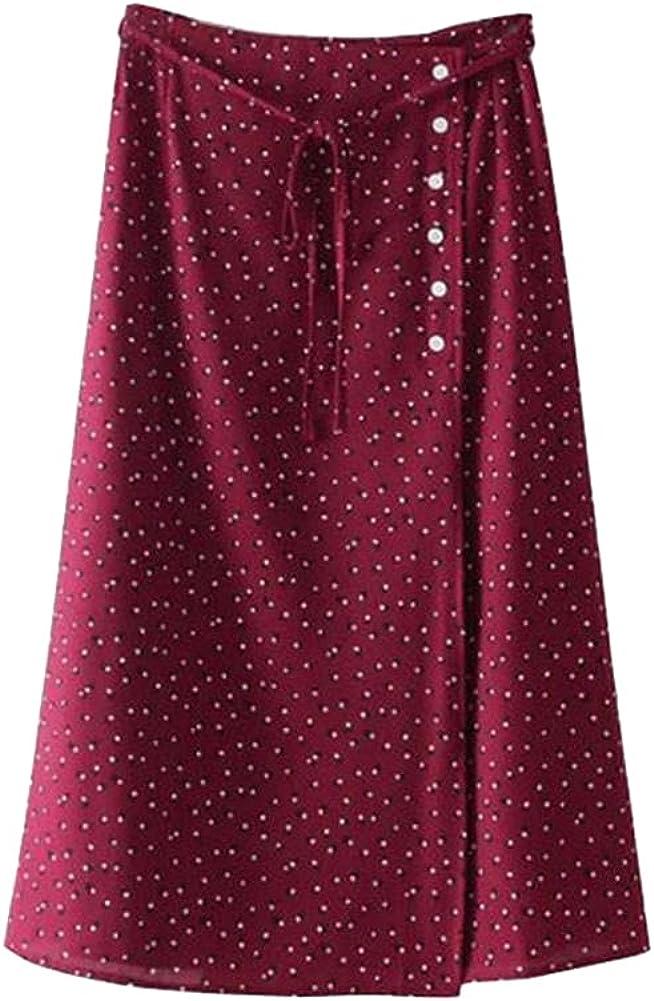 CHIC&TNK Summer Autumn Skirts Womens Midi Skirt High Waist Button Bohemian Polka Dot