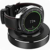 HALLEAST for Galaxy Watch 46mm 42mm Charger Holder, Gear S3 Charging Stand, Metal Base Silicone Docking Station Compatible Samsung Galaxy Watch 46mm 42mm / Gear S3 Frontier Classic, Black