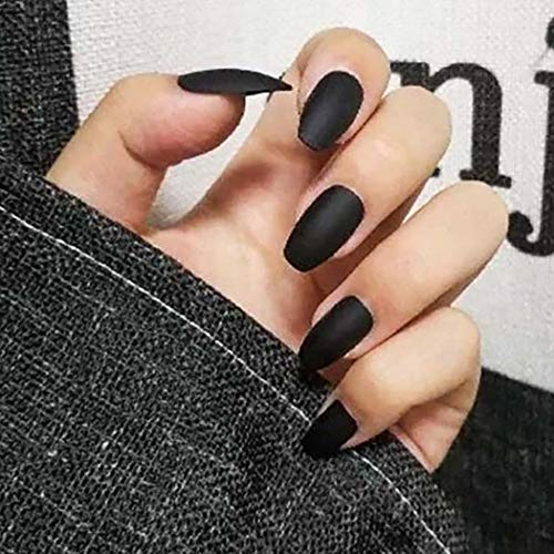 Drecode 24Pcs Punk Matte Fake Nails Coffin Nails Fashion Party Full Cover False Nails for Women and Girls (Black)
