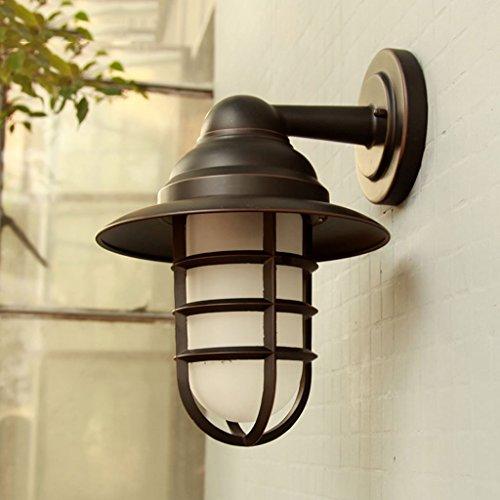 CKH wandlamp voor buiten, Allee, industriële stijl, aluminium, eenvoudige behuizing en lampenkap van glas