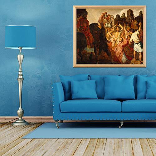 MOL Rembrandt Famoso schilderij De reiniging van Santo Stefano 5D Diamant Fai-da-Te kleur volledige vierkante diamant diamant strass (Senza frame) 30x40cm