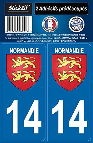 STICKZIF SR14-2 2 Adhésif Autocollants Région Département 14 Normandie, Set de 2