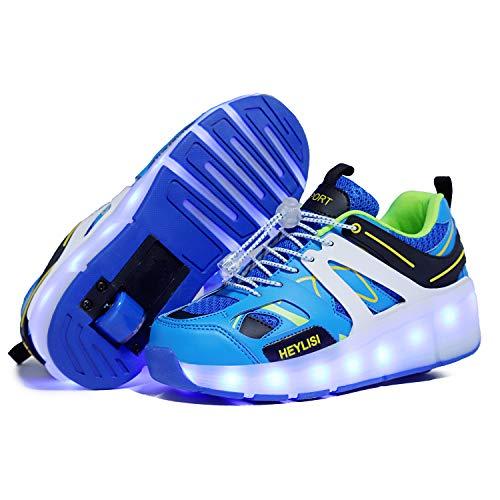 Zapatos con Ruedas Zapatillas con Dos Ruedas para niños y...
