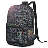 LOKASS Backpack Night Glowing Rainbow Hiking Daypack Backpack Lightweight Satchel Carry-On College Rucksack Bookbag for Women Wen Camping Cycling Commuting Travel Weekender,Reflective,Black