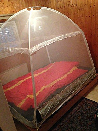 XXL- Moskitonetz- Zelt Mückenschutz für Betten zum Aufstellen ohne Bohren, 200x150x160 cm, mit 3 Eingängen (Weiß)
