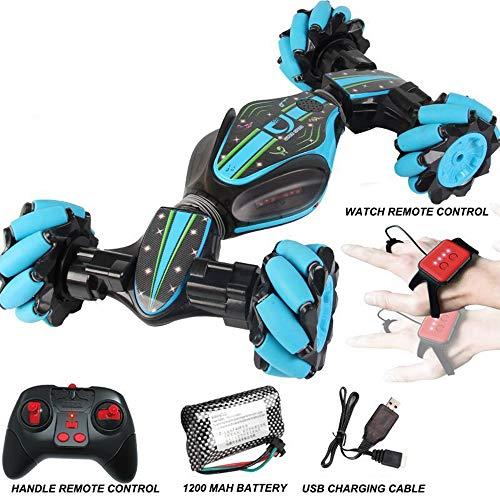 Mettime Ferngesteuertes Stunt-Spielzeugauto, 2,4-G-Sensor-Ferngesteuertes Stunt-Auto mit Allradantrieb, Offroad- und Sportstatus, verdrehte Fahrzeugdrift, Autofahren, Spielzeug, Geschenke (blau)