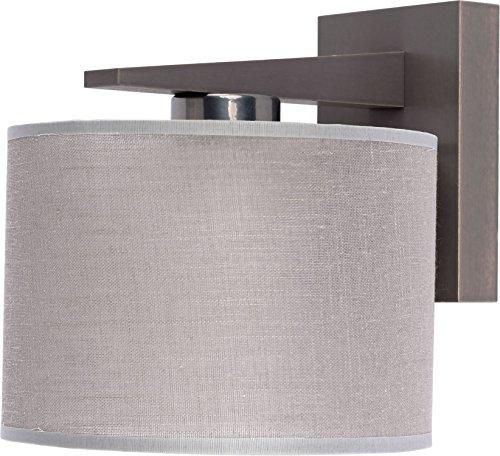 Applique murale bois design scandinave Marron Abat-jour en tissu gris roue E27 Salon Couloir Éclairage Lampe murale