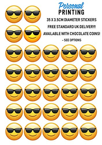 PP - Zonnebril Gezicht Emoji 35 x 35mm Stickers Sheet Verjaardag Evenement Plezier Scrap Boek Nieuwigheid Kids Verjaardag