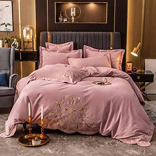 PHGo Bettbezug Aus Baumwolle, Besticktes Heimtextil, Dicke Wärme, Gebürstetes Vierteiliges Baumwollbettlaken, Weich, Leicht Zu Waschen, Mikrofaser
