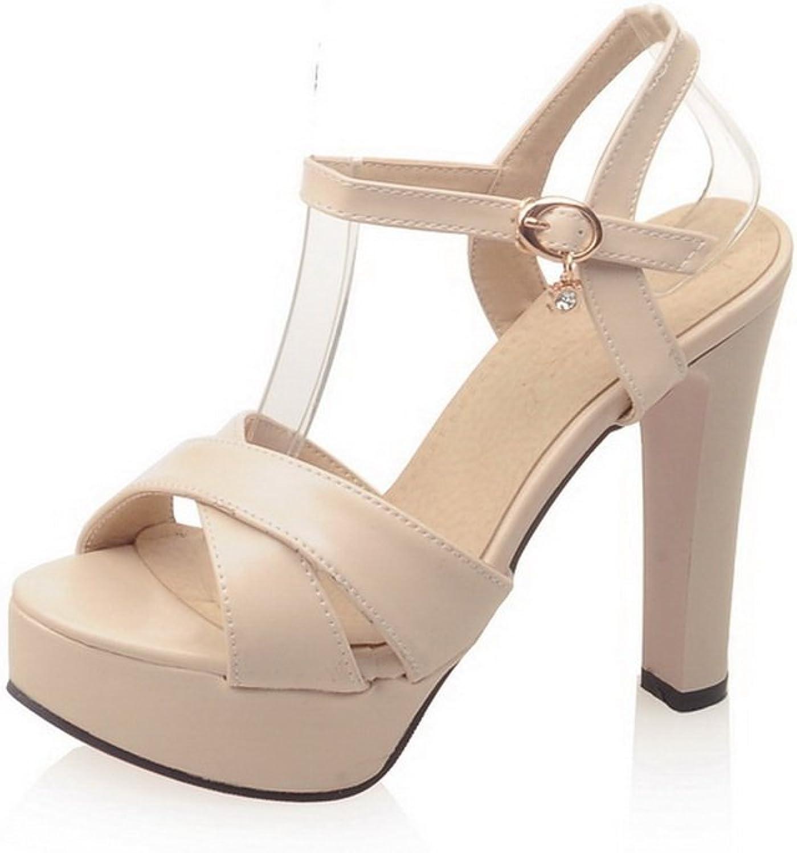 BalaMasa Womens Chunky Heels Platform Metal Buckles Urethane Heeled Sandals
