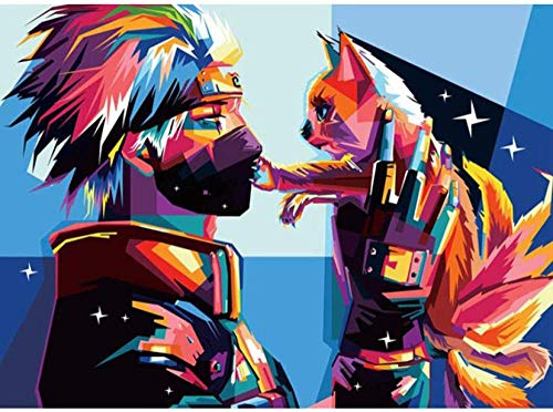 Gato animales pintura de bricolaje por números pintura al óleo moderna pintada a mano cuadro de arte de pared envío de la gota pintura por números regalo A8 40x50cm