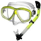 Promate Snorkeling Scuba Dive Dry Snorkel Purge Mask Gear Set, Yellow