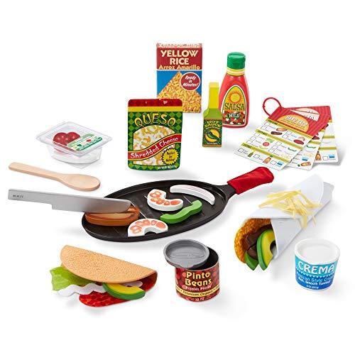 Melissa&Doug - Juego de tacos y tortilla para rellenar y doblar, comida de juguete, comida mexicana de juguete en madera, que se puede cortar en rodajas, 43 piezas, dimensiones: 31 x 9 x