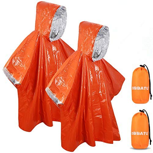 DIBBATU Emergency Survival Poncho Heat Reflective Blanket Poncho Waterproof Thermal Emergency Raincoat Keeps You Dry and Warm During Camping Hiking Auto, or Any Outdoors (2 Pack)