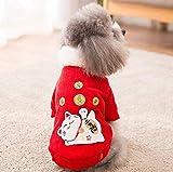 Coollooda Nuevo acolchado cálido otoño e invierno perro algodón abrigo pana año nuevo mascota ropa Lucky Cat XL
