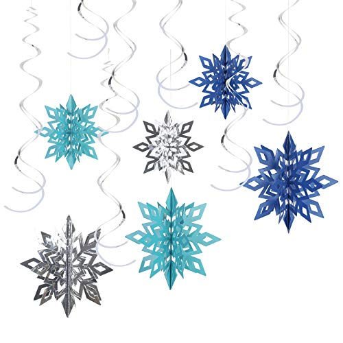 LANMOK 3D Schneeflocken Eiskönigin Party Schneeflockendeko Spiralen Anhänger Deko für Kinder Geburtstag Weihnachten Blau(24tlg)