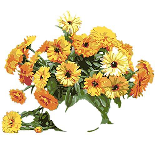 Skxinn DIY Malen Nach Zahlen-Vorgedruckt Leinwand-Ölgemälde Geschenk für Erwachsene Kinder Kits Home Haus Dekor - Gelbe Sonnenblume 40 * 50 cm